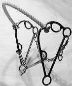 L&W Rope Nose Hackamore Combination Bit 165 Twisted Wire