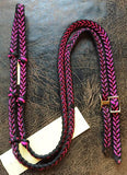 Martha Josey Super Knot Barrel Racing Rein Black/Hot Pink