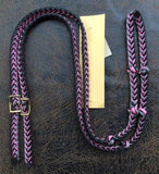 Martha Josey Super Knot Barrel Racing Rein Black/Pink/Gray
