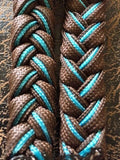 Martha Josey Super Knot Barrel Racing Rein Brown/Turquoise