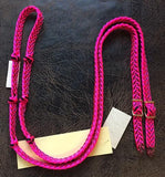 Martha Josey Super Knot Barrel Racing Rein Hot Pink/Black