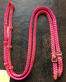 Martha Josey Super Knot Barrel Racing Rein Hot Pink/Lime