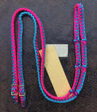Martha Josey Super Knot Barrel Racing Rein Hot Pink/Purple/Turquoise