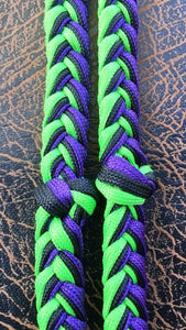 Martha Josey Super Knot Barrel Racing Rein Lime/Black/Purple