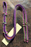 Martha Josey Super Knot Barrel Racing Rein Purple/Hot Pink/Lime
