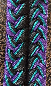 Martha Josey Super Knot Barrel Racing Rein Purple/Turquoise/Black
