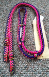Martha Josey Super Knot Barrel Racing Rein Purple/Yellow/Hot Pink
