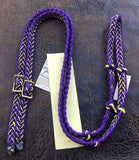 Martha Josey Super Knot Barrel Racing Rein Purple/Yellow