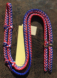 Martha Josey Super Knot Barrel Racing Rein Red/White/Royal Blue