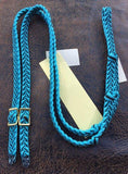 Martha Josey Super Knot Barrel Rein Turquoise/Black pony size