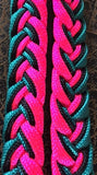 Martha Josey Super Knot Barrel Racing Rein Turquoise/Black/Hot Pink