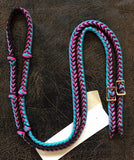 Martha Josey Super Knot Barrel Racing Rein Turquoise/Hot Pink/Black