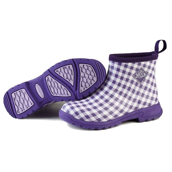 Muck Breezy Ankle Boot Purple Gingham