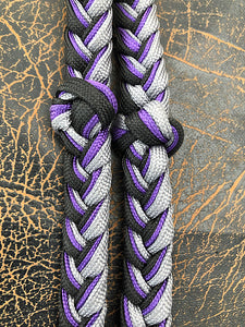 Martha Josey Super Knot Barrel Racing Rein Black/Purple/Silver