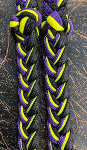 Martha Josey Super Knot Barrel Racing Rein Purple Yellow Black