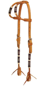Schutz Brothers Double Round Ear Headstall with Chocolate Rawhide Wraps