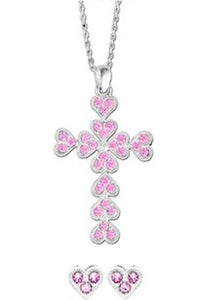 Western Edge Cross Pink Heart Jewelry Set TBJS2001PK