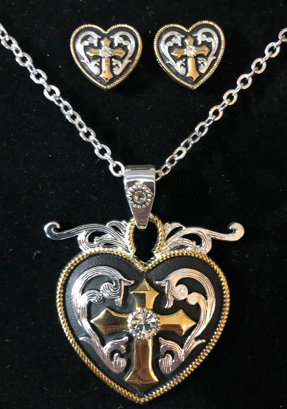 Western Edge Heart Cross Crystal Jewelry Set TBJS2610