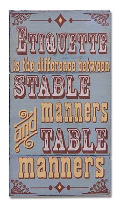 Montana Silversmiths Magnetic Wooden Sign Etiquette