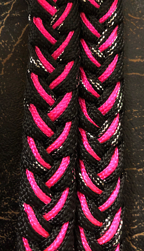 Martha Josey Super Knot Barrel Racing Rein Black Metallic/Hot Pink