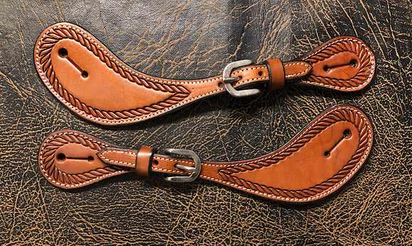 Schutz Brothers Rope Tooled Shaped Spur Straps