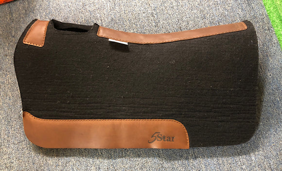 5 Star Saddle Pad Black 7/8 inch Brown wear leathers 30x28