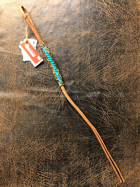 Hand Quirt Harness Leather with Turquoise Cheetah by Martin Saddlery