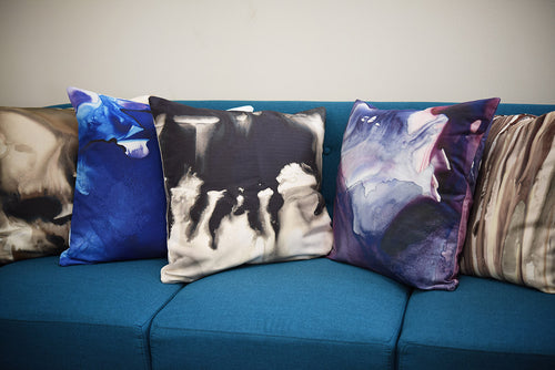 Black and Grey Watercolor Pillow