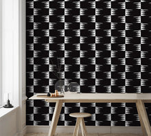 Load image into Gallery viewer, STONE TEXTILE FRINGE CHECK IN WHITE ON BLACK