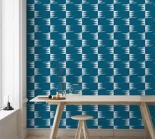 Load image into Gallery viewer, STONE TEXTILE FRINGE CHECK IN WHITE ON TEAL