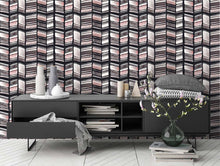 Load image into Gallery viewer, STONE TEXTILE HERRINGBONE IN BLACK + BLUSH