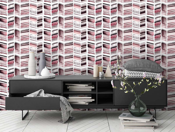 Stone Collection Herringbone Print in Rose