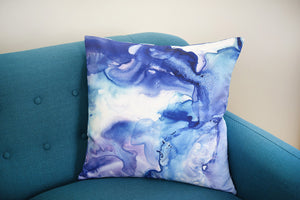 Purple and Blue Dance Watercolor Pillow
