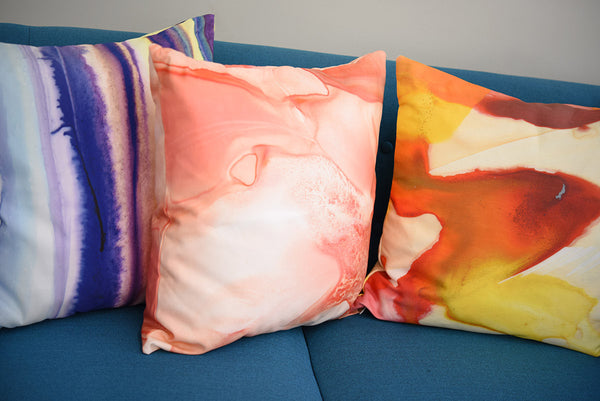 Peach Punch Watercolor Pillow