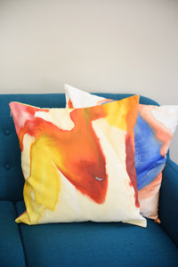 Red and Yellow Watercolor Pillow
