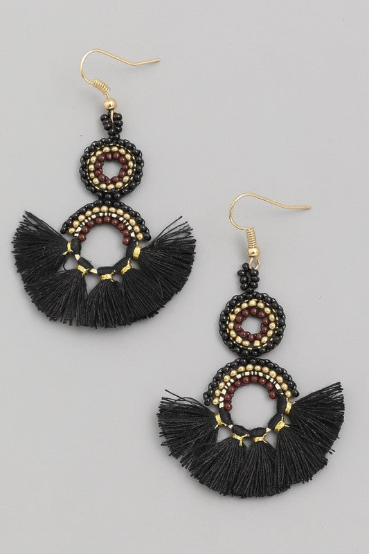 Sooner or Later Tassel Earrings - Black womens trendy dangle tassle earrings with beads closet candy side