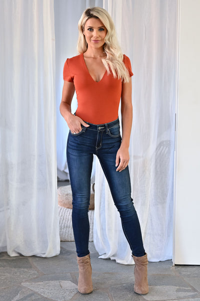 Priceless Double Layer Bodysuit - Burnt Orange womens trendy short sleeve v-neck bodysuit closet candy front 3