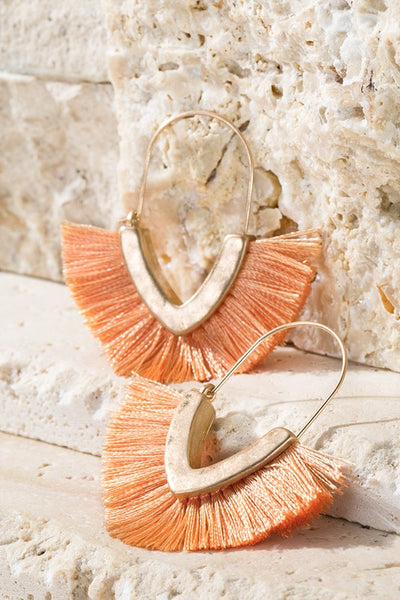 Fan Girl Earrings - Peach womens trendy v shaped gold tone tassel detail earrings closet candy flatlay