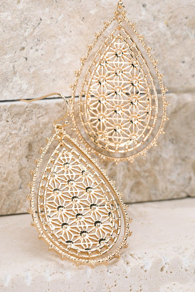 Lucky You Dangle Earrings - Gold womens trendy textured filigree teardrop earrings closet candy