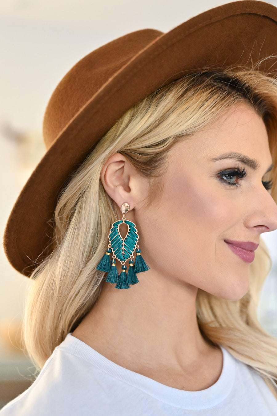 Bold Statement Earrings - Teal womens trendy leaf drop tassel detail earrings closet candy side