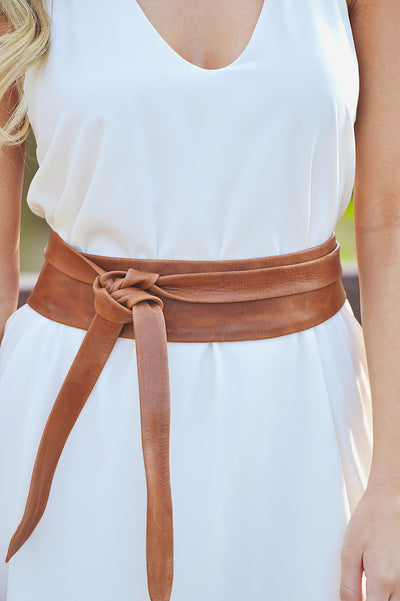 ADA Collection Handmade Wrap Belt - Tan