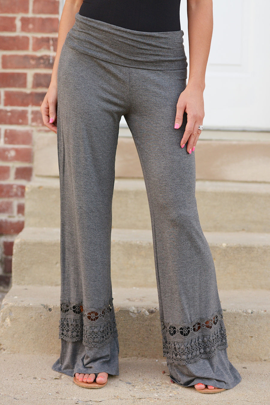 A Whole New World Palazzo Pants - crochet palazzo lounge pants, charcoal, Closet Candy Boutique