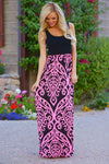 Another Love Song Maxi Dress - Black/Pink