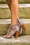 Around The World Heeled Sandal - Grey