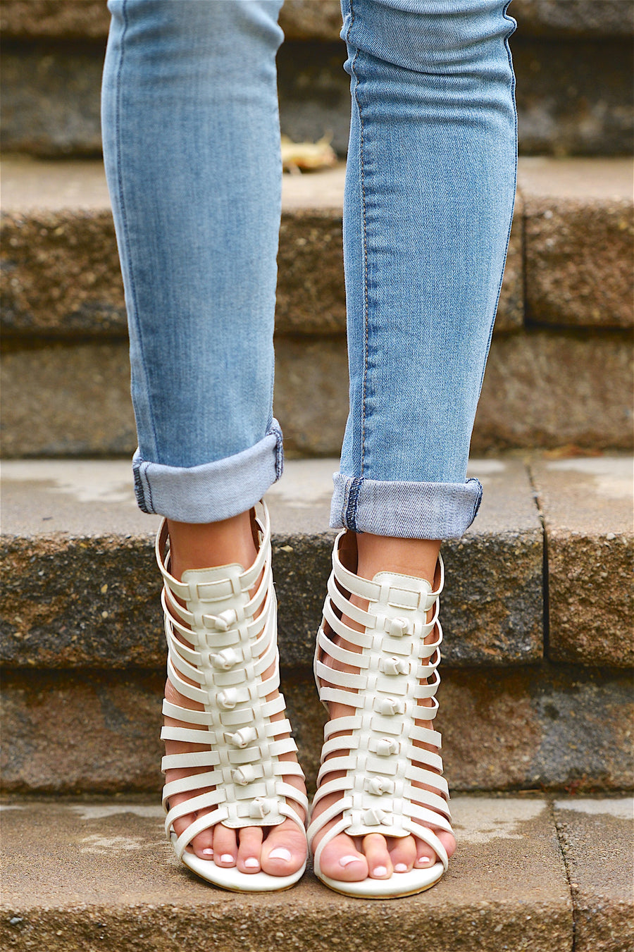 Around the World Heeled Sandals - Off White
