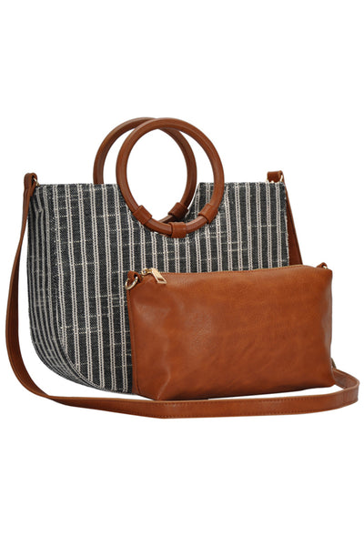 Swept Away Purse - Black/Ivory stripe purse with removable satchel, satchel, Closet Candy Boutique
