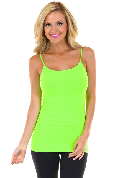 Basic Long Seamless Tanks neon green amazing quality seamless long tank spaghetti straps closet candy front