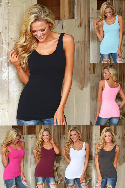 Long Seamless Tanks - Thick Straps Collage multiple colors amazing quality seamless long tank with a bra-friendly thicker strap closet candy
