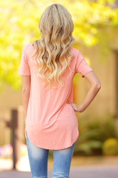 Closet Candy Boutique - casual v-neck short sleeve top, everyday tee, back