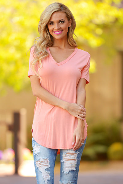 Closet Candy Boutique - casual v-neck short sleeve top, everyday tee, front